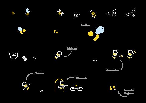 illustrationen von bienen